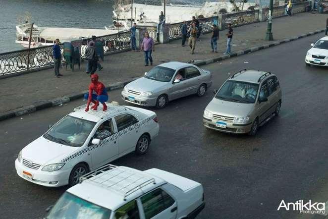 spider man وسط شوارع مصر مواصلات