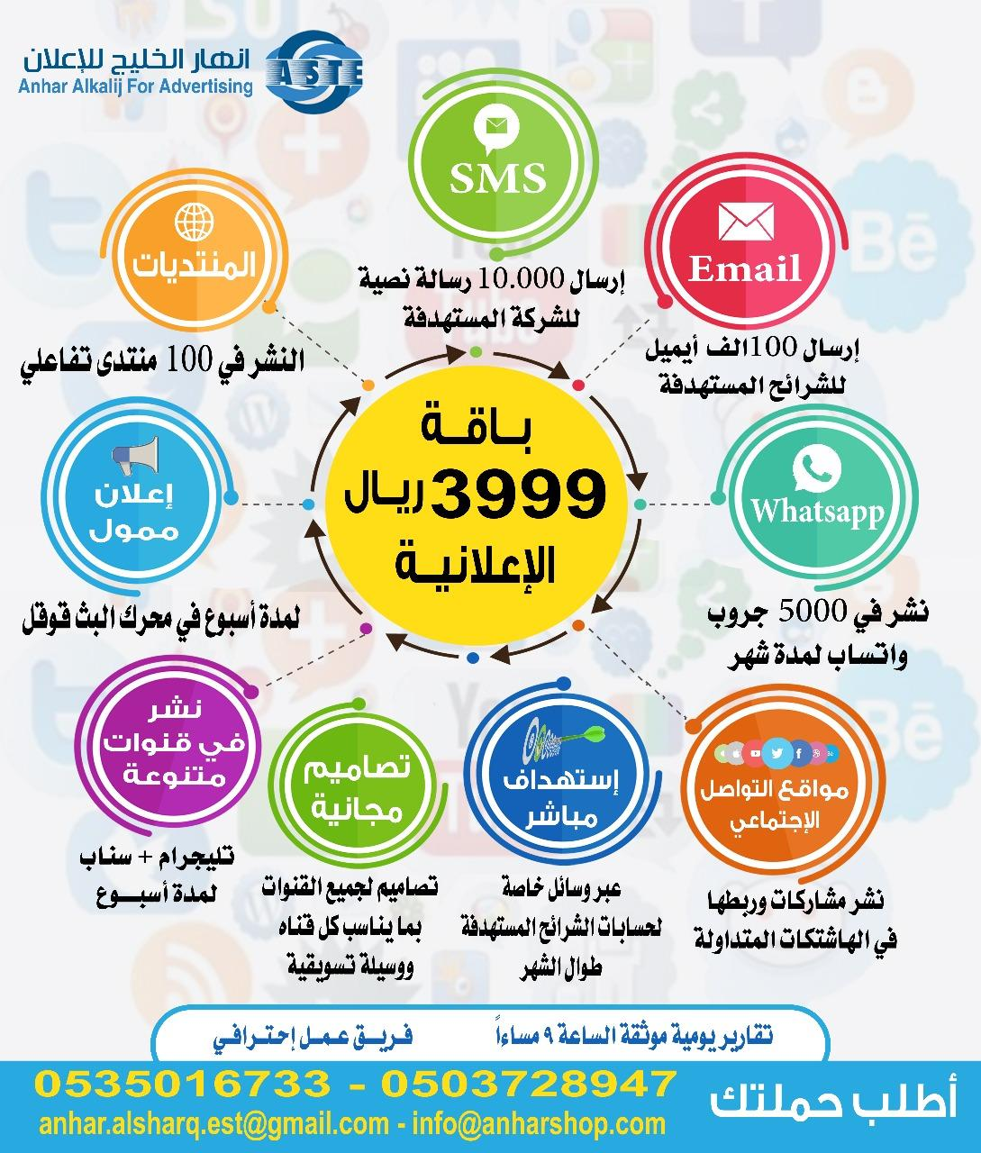 خدمات الاعلان والترويج والتسويق من انهار الخليج 0535016733