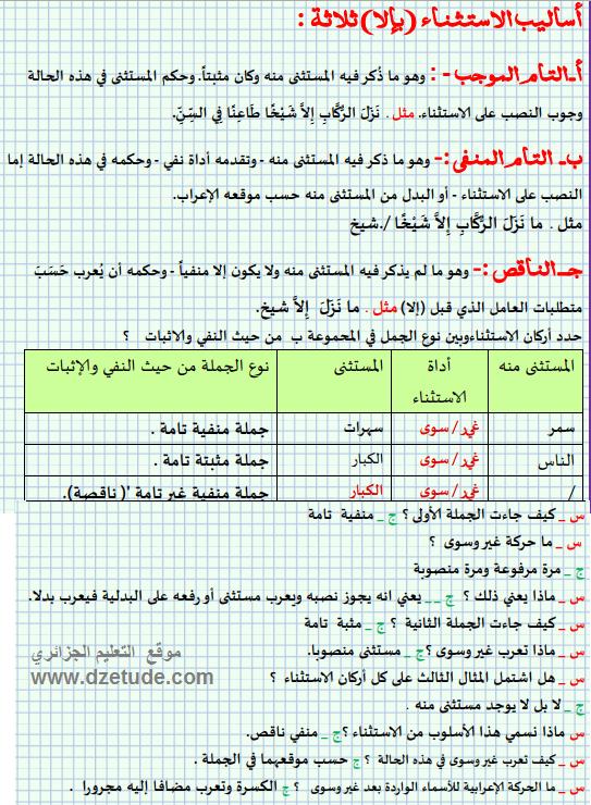 تحضير درس الاستثناء السنة الرابعة متوسط الجيل الثاني موقع التعليم الجزائري Dzetude