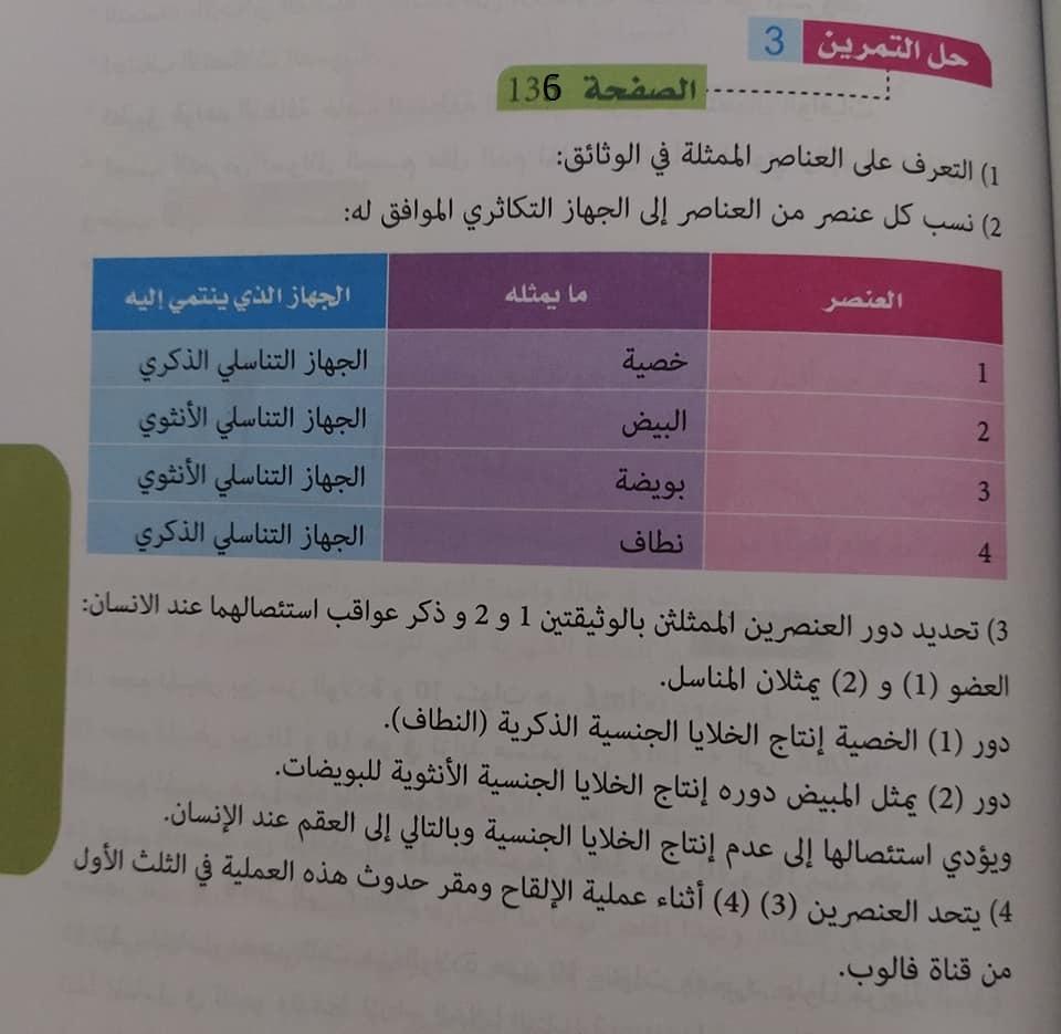 حل تمرين 3 صفحة 136 علوم طبيعية للسنة الأولى متوسط الجيل الثاني